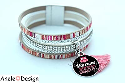 Bracelet manchette Cadeau pour une Marraine Super Mega Chouette, cadeau marraine,