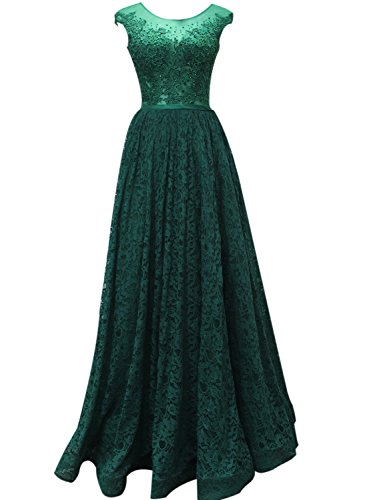 Azbro Women's Sleeveless Floral Lace Long Prom Evening Dress green