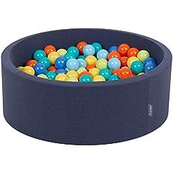 KiddyMoon Piscine À Balles ∅ 7Cm pour Bébé Rond Fabriqué en UE, BL.Foncé:Vert Clair/Orange/Turq/Bleu/Babybl/Jaune,90X30cm/200 Balles