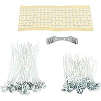 Bestechno - Kit per realizzare candele, stoppini pre-cerati (100 pezzi) insieme con 100 adesivi per stoppini (doppi lati) e supporto per stoppino