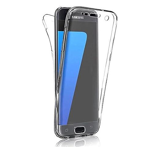 Coque Full Protecion Samsung Galaxy S5 / S5 NEO 360° INTEGRAL Silicone Transparent Etui TPU Gel Souple Intégral Avant Arrière Protecteur Anti-Choc Housse Sunroyal® Ultra Mince Case Cover de Bumper Invisible pour Samsung Galaxy S5 I9600 / S5 Neo -