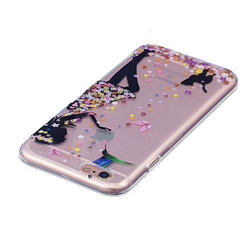 3X Cover iPhone 7 8, E-Unicorn Cover Custodia Apple iPhone 7 8 Trasparente con Disegni Piuma Campanula Acchiappasogni Pizzo Fiore Silicone TPU Gomma Morbida Colorate Ultra Slim Bumper Case Modello Pro Bella Ragazza Orso Gatto