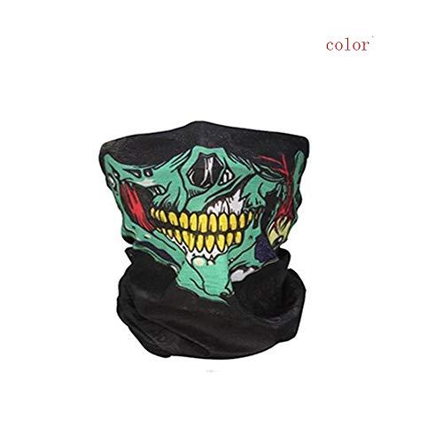 Macxy - Halloween-Maske Festival Schädel-Masken-Skelett im Freien Motorrad-Fahrrad-Multifunktions Neck Warmer Geist Halbe Gesichtsmaske Schal ()