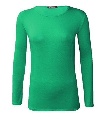 AHR_Manchester_LTD Top à Manches Longues - Uni - Col RAS du Cou - Femme Vert jade
