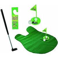 Isuper Golf Toilette - Ensemble de Putter de Pot Jeu de Salle de Bains Mini Set de Golf Set de Nouveauté de Golf - Jouez au Golf sur la Toilette
