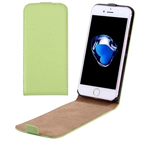 Custodia iPhone 7, Per il caso di cuoio di iPhone 7 verticale flip Genuine Split ( Color : Green )