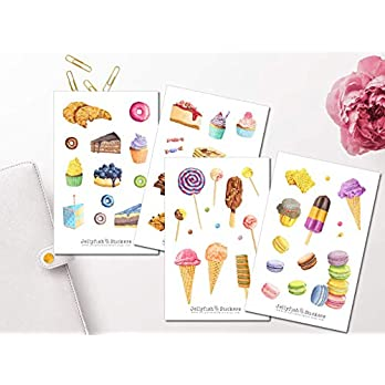 Süßes Sticker Set   Aufkleber Süßigkeiten   Journal Sticker   Sticker Backen   Sticker Geburtstag