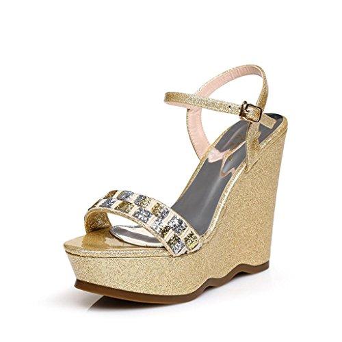 BaiLing XXWomen's Sommer Sandalen / Wedge Ferse wasserdicht / Strass dicke Boden / kleine Größe weibliche Schuhe Gold