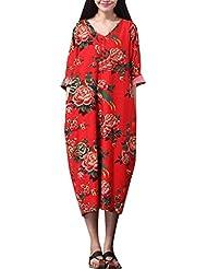 Youlee Mujer Cuello en V Floral Impreso Manga Corta Vestir
