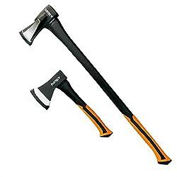 FUXTEC Axt Set, 2 teilig Beil 800gr, Spaltaxt 2.000gr. - Spalthammer Axtset, Spaltbeil