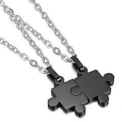 Idea Regalo - Cupimatch Collana [1 Coppia] Coppia Lovers Acciaio Inossidabile Pendente Puzzle Nero Regalo Perfetto