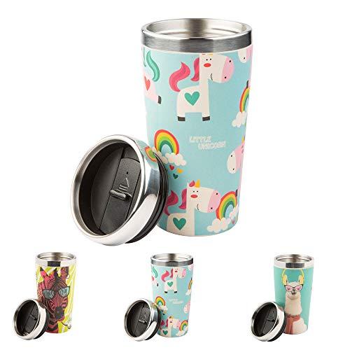 BIOZOYG Erstklassiger Bambus-Trinkbecher Thermo to go mit Schraubverschluss BPA frei I Cafe Becher to go Bambus Thermosbecher Isolierbehälter Teebecher I Thermo-Kaffeebecher to go 400 ml Einhorn