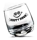 Gilde 2 Set Bicchieri da Whisky Bicchieri da Rum Vetro oscillante Vetro Girevole in Confezione Regalo Altezza 8,5 cm Diametro 7,5 cm 200 ml, Lavabile in lavastoviglie