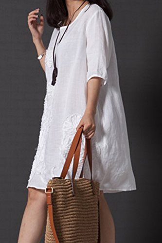 Zilcremo Women Tunic Dress Plus Size Vintage Round Neck Embroidered Cotton Linen Swing Dresses White 3XL
