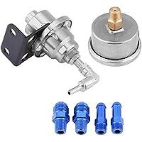 Regulador de presión de combustible, universal de aluminio para automóvil 160psi Regulador de presión de combustible ajustable 1: 1 Kit de indicador de aceite(plata)