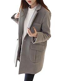 FELZ Abrigos Abrigo Mujer Mujer de Lana de Solapa Casual de Manga Larga Parka cálida de