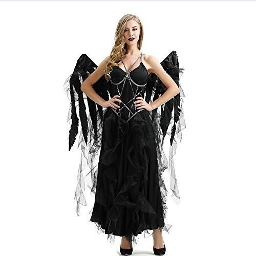 Dark Kostüm Angel Wing - JNTM Halloween Damen Dark Angel Kostüm, Mit Winged Angel Kopfschmuck Black Fallen Angel Sexy Tattered Gaze Wings Halloween Kostüm Cosplay Bar Party,XL