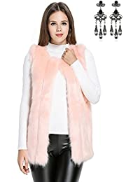 best loved b7add ce36c gilet pelliccia - Rosa / Donna: Abbigliamento - Amazon.it