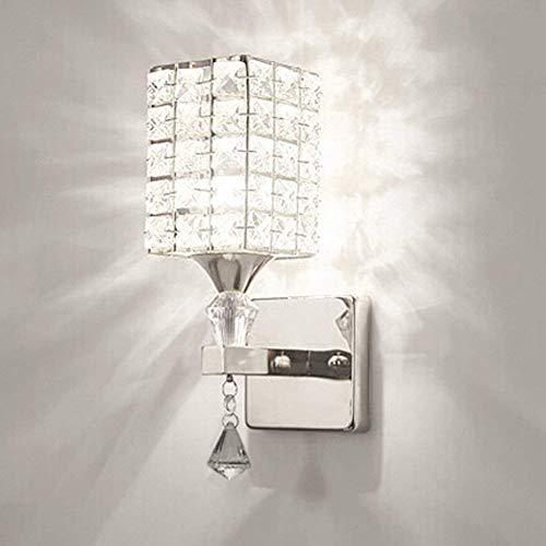 Esszimmer-modern-bett (HJZ Moderne Kristall Wandleuchte LED Kreative Wandlampe Wandlicht für Schlafzimmer, Wohnzimmer, Diele, Esszimmer, Bett, Halterung E14 Sockel, Birne nicht enthalten (Silber))