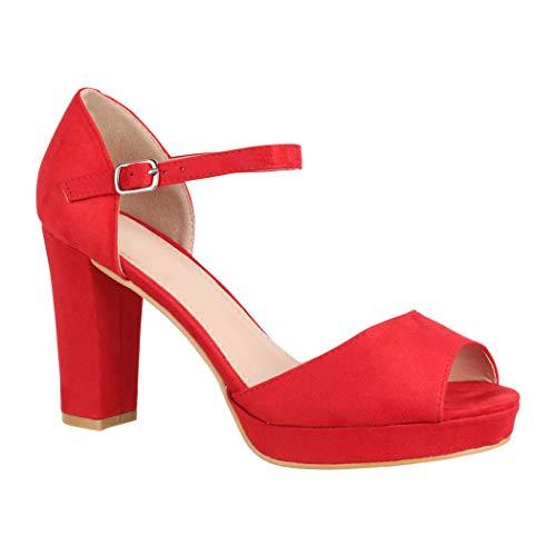 Elara Damen Pumps | Bequeme Peep-Toe Pumps | Trendige Plateau High Heels | Chunkyrayan 8116 Red-37 Heel Peep Toe