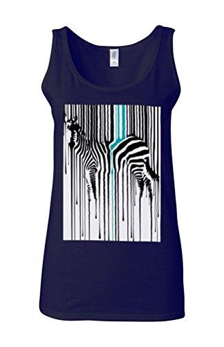 Dripping Zebra Art Animal Barcode Novelty White Femme Women Tricot de Corps Tank Top Vest Bleu Foncé