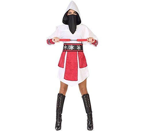 (ATOSA 54583 Kostüm für die Dame Costume Ninja M-L, Schwarz/Weiss/Rot)