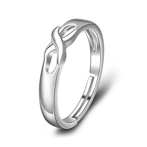 YFN 925 Sterling Silber Keltischer Knoten Rose Blume Liebe Herz Verstellbar Ringe für Damen (Irischer keltischer Knoten) (Rose Blume Ring)