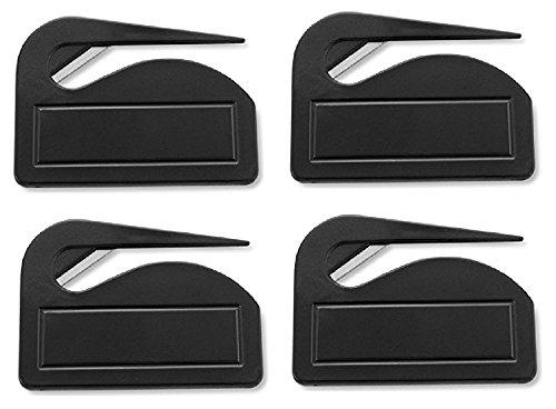 4er Pack Brieföffner 'Pocket' aus Kunststoff, Schwarz