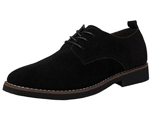 DADAWEN Herren Wildleder Schuhe Schnürhalbschuhe Casual Oxfords,Schwarz 43 EU (Männer Wildleder Für Casual Schuhe)