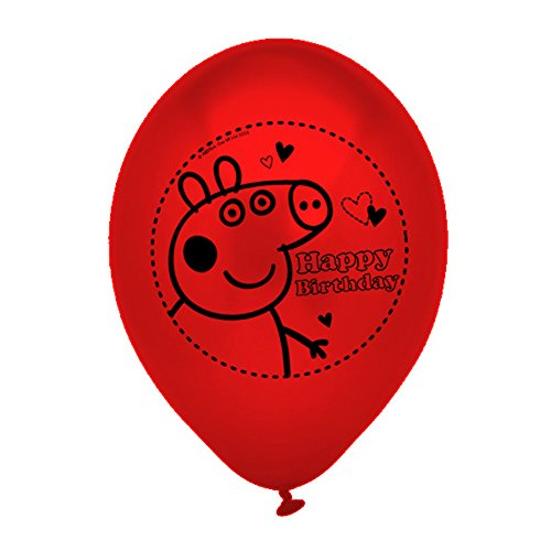 Peppa Pig 203790 - Globos Decorativos, 10 Unidades, Color Rojo y Amarillo