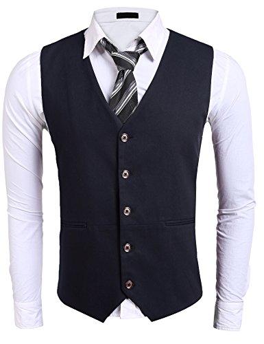 Burlady Herren Weste V-Ausschnitt Ärmellose Westen Slim Fit Jacke Lässige übergangsweste Business Freizeit Weste (XL, A-Navyblau) (Xl Lässiges Herren)