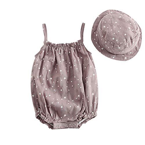 i-uend Kleinkind Baby Sommer Kleidung Anzug Neugeborenes Baby Mädchen Sterne Print Strap Strampler Kleinkinder Baby ärmellos Body Overall + Hut Outfits