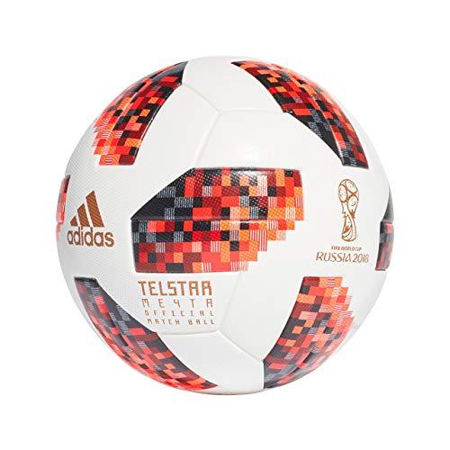 adidas Herren FIFA Fussball-Weltmeisterschaft Knockout Offizieller Spielball Ball, White/Solred/Black, 5 -