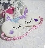 Flauschige Augenmaske zum Einschlafen mit Einhorn violett