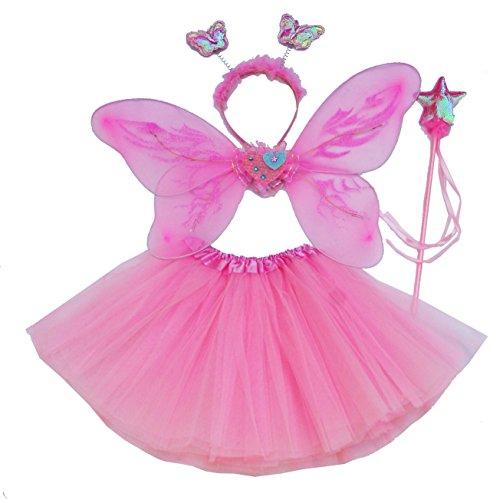 Fun Play Fee Kostüm - Schmetterlingsflügel, Tutu, rosa Zauberstab und Stirnband (Fee Rosa Tutu Kostüm)