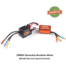 Crazepony-UK B3650 3900KV Sensorless Brushless Motor CNC Waterproof and 60A ESC Electronic Speed Controller Shaft 3.175mm for 1/10 RC Car Truck Running Off-Road Car