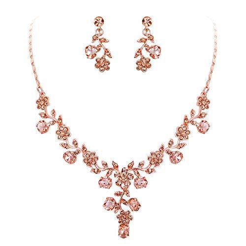 Ever Faith Damen Schmuckset österreichische Kristall Hochzeits Blatt Weinlese Halsketten Ohrringe Schmuck Set Champagner-Rose Gold-Ton