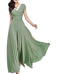 IWEMEK Elegante Mujer Vestido Largo de Bohemio Vestido de Gasa de Bohemia Cuello en V Dama de Honor Fiesta de Noche Baile…