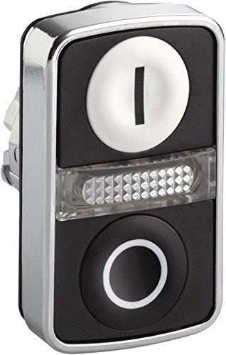 schneider-electric-zb4bw7-a1721-doppio-pulsante-testa-a-filo-bianco-nero-a-filo-illuminato-pulsante-
