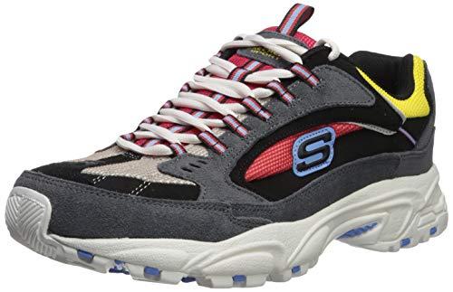 Skechers Herren Stamina Cutback Sneaker, Grau (Charcoal LeatherMeshRed Trim CCRD), 43 EU