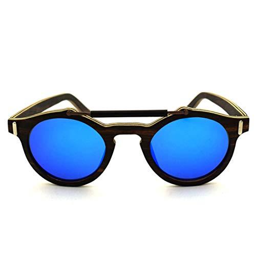 Yiph-Sunglass Sonnenbrillen Mode Persönlichkeit Handcraft Unisex-Erwachsene Holz Sonnenbrille Farbige Linse UV400 Schutz. (Farbe : Blau)