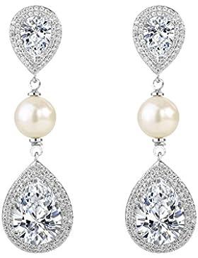 EVER FAITH® Damen CZ Ivory farbe künstliche Perle Tropfen Dangle Ohrringe klar Silber-Ton