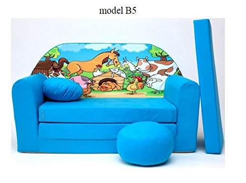 Divano divanetto bambini e cuscino e puff mini divano
