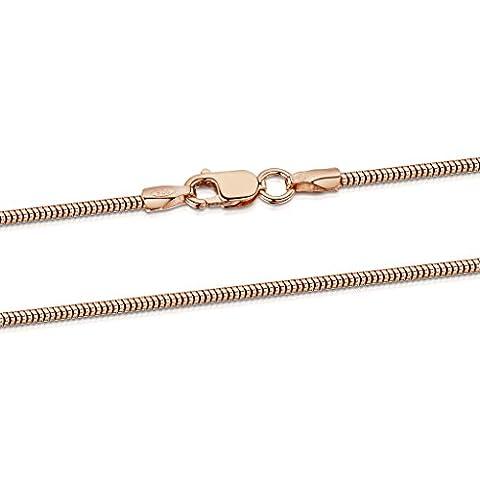 Amberta® Bijoux - Collier - Chaîne Argent 925/1000 - Plaqué Or Rosé 14K - Maille Serpent - Largeur 1.4 mm - Longueur 40 45 50 55 60 cm (55cm)