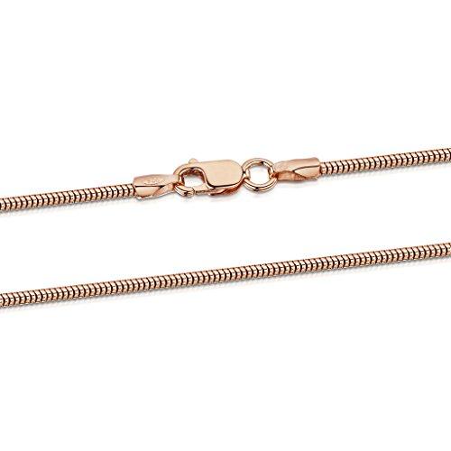 Amberta 925 Sterlingsilber Roségold 14K Damen-Halskette - Schlangenkette - Rattenschwanz-Kette - 1.4 mm Breite - Verschiedene Längen: 40 45 50 55 60 cm (50cm)