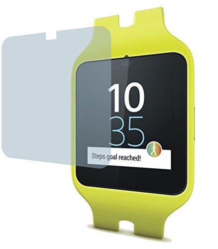 2x Crystal clear klar Schutzfolie für Sony SmartWatch 3 SWR50 Premium Bildschirmschutzfolie Displayschutzfolie Schutzhülle Bildschirmschutz Bildschirmfolie Folie. Die Folie ist bewußt kleiner als das Bildschirm, da dieses am Rand gewölbt ist
