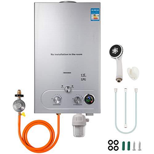 Husuper 12L LPG Calentador Agua Gas Propano Sin Tanque
