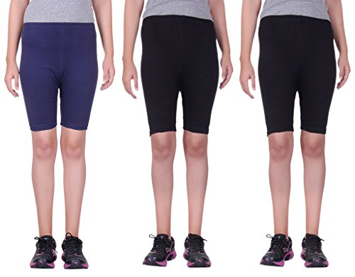 Belmarsh Stretchable Cycling Shorts - Pack of 3 (NVY_BLK_BLK_38)