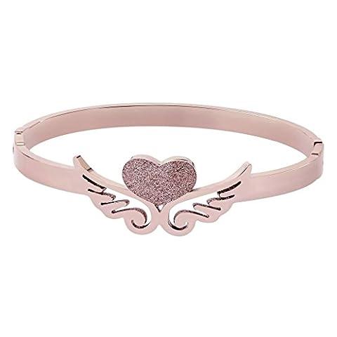 Bishiling Modeschmuck Edelstahl Armband für Frauen Mädchen Herzen mit Flügel Armband Rosegold