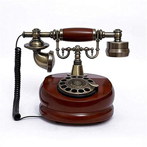 Gib niemals auf Vintage Retro europäischen Drehscheibe Zifferblatt Massivholz Antik Hotel Hotel Haus drahtgebundenen Festnetz-Telefon (Panasonic Robuste)